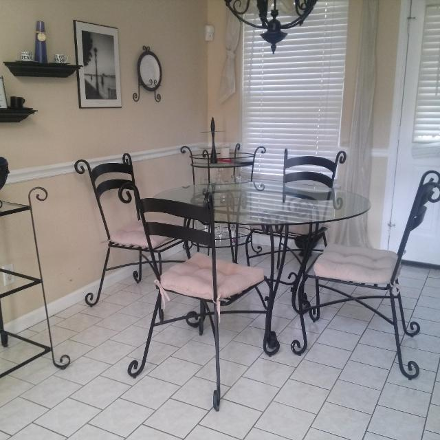 Best Pier One Glass-topped Wrought Iron Kitchen/dining Table For Sale In Ringgold, Georgia For 2019