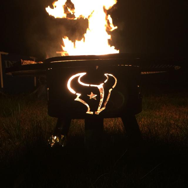 Houston Texans custom fire pit. 24 inches with 8 inch wrap around grill.  Also - Find More Houston Texans Custom Fire Pit. 24 Inches With 8 Inch Wrap