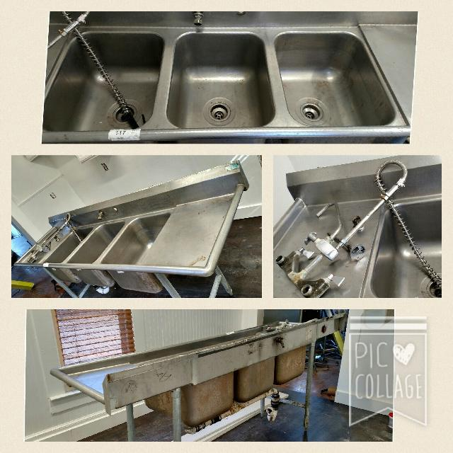 Large Commercial Stainless Steel 3 Bucket Sink