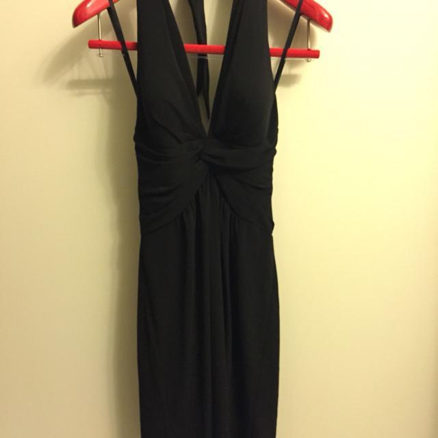 Best White House Black Market Black V Neck Halter Open Back Dress