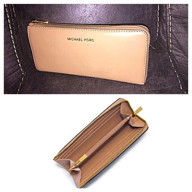 8b8defde7c1a ... Michael Kors Colby leather Dark Khaki large wallet three quarter zip  around .