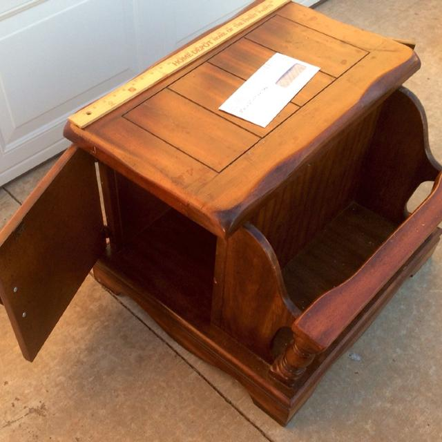 Vintage Solid Wood End Table With Magazine Rack 2 Side Doors See More Pictures