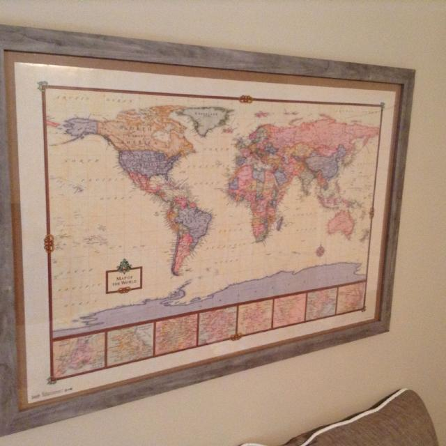Find more framed world map 38x26 rustic wood look for sale at up framed world map 38x26 rustic wood look gumiabroncs Choice Image