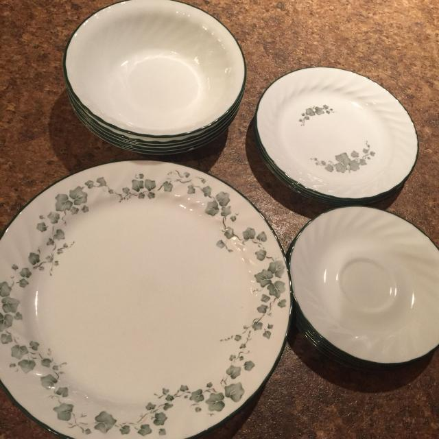 Corelle Dishes Green Vine Print Dishwasher And Microwave Safe