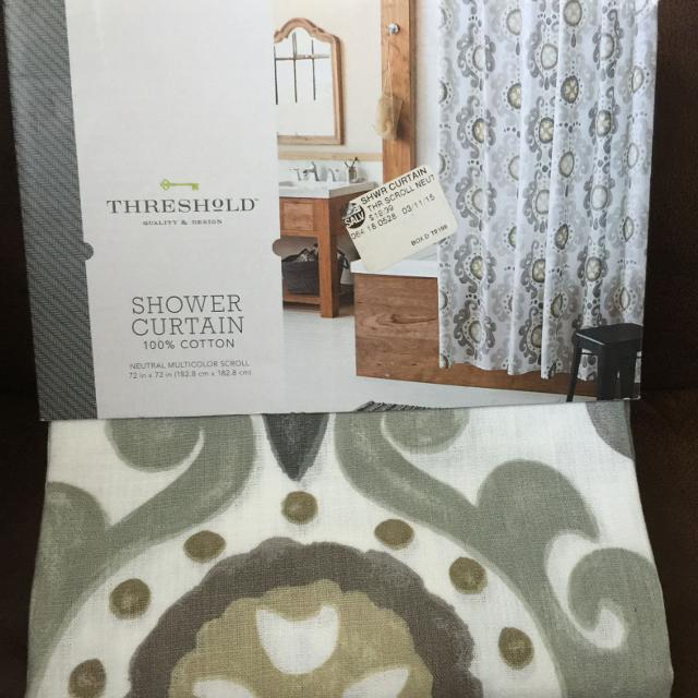 Best New Threshold Shower Curtain Neutral Multicolor Scroll 72\