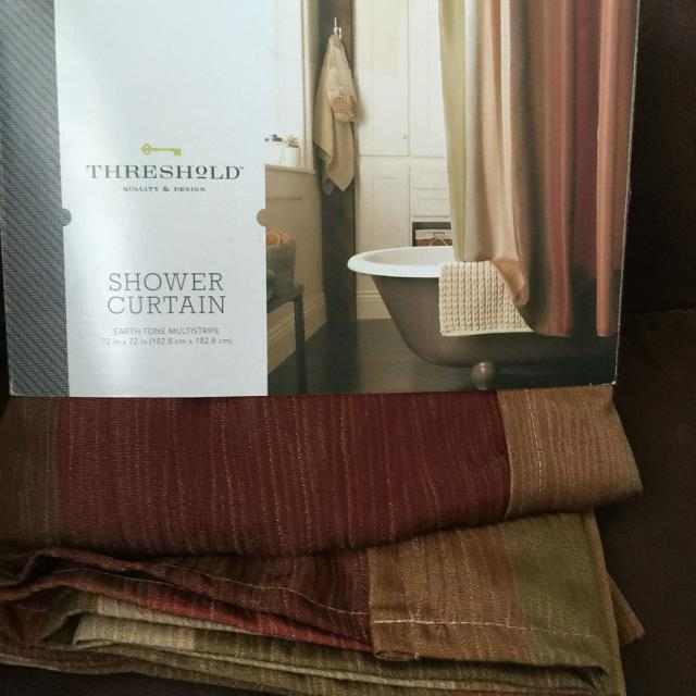 Find more New Threshold Shower Curtain Earth Tone Multistripe 72 ...