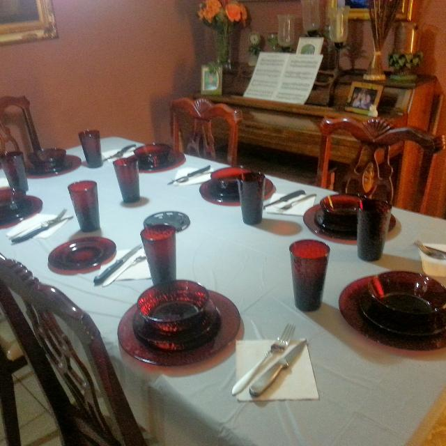 Set of Beautiful Red Glass plates & water Glasses 7 plates n soup bowls 8  Salad plates & 9 water glasses $25 00