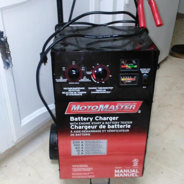 motomaster battery charger with engine start manual