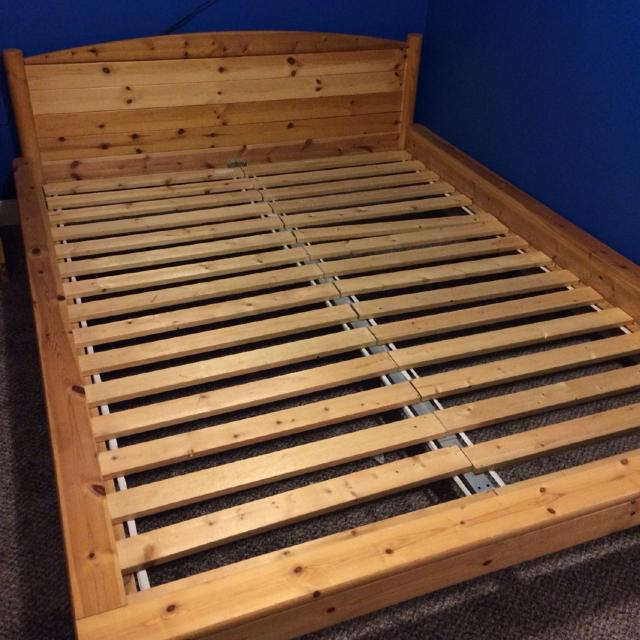 Ikea Queen Size Knotty Pine Wood Bed Frame Easily Transportable Asking 50