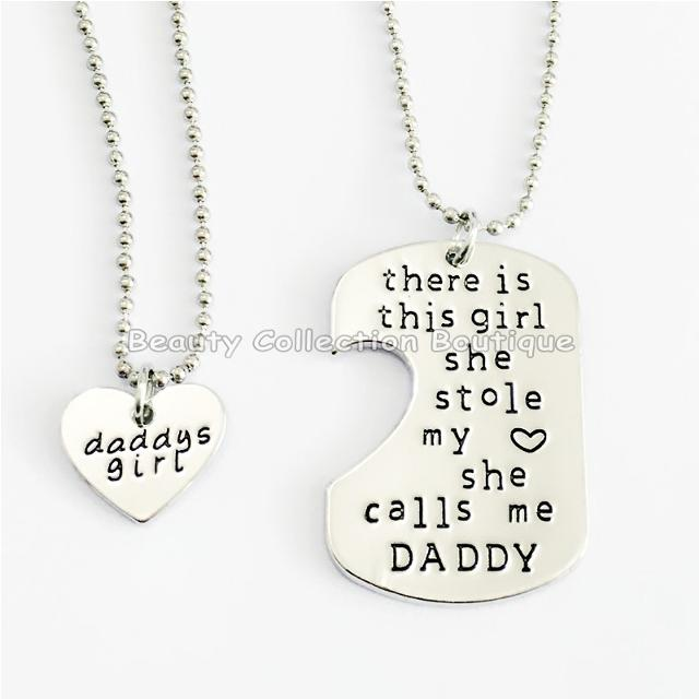 There is this girl she Stole my heart she calls me DADDY/ DAUGHTER Hand  Stamped Dog Tag Heart Pendant Necklace Set!