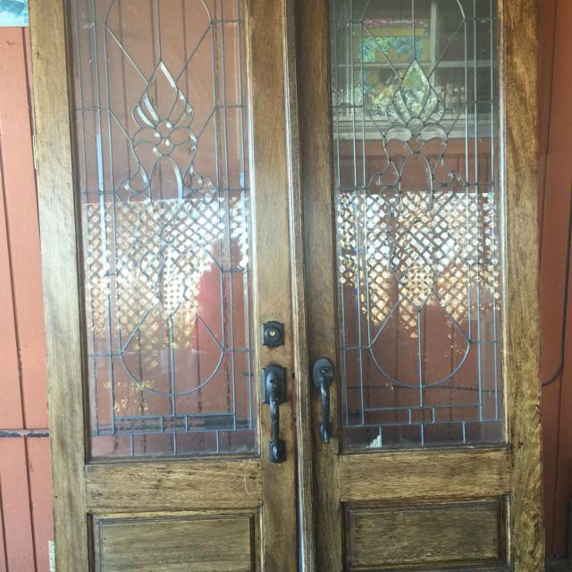 Best 8x 52 Mahogany Double Door With Stain Glass For Sale In