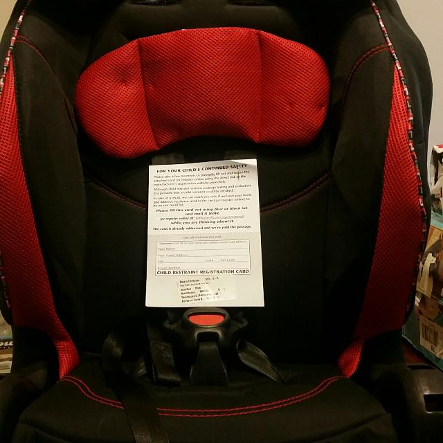 Black And Red Evenflo Car Seat