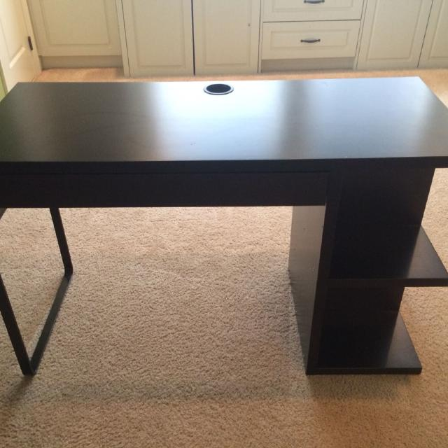 Black Ikea Desk 1 Drawer 4 Cubbies On The Side Pick Up Only Off Exit 23 47 Inches Long 29 High More Pics In Comments