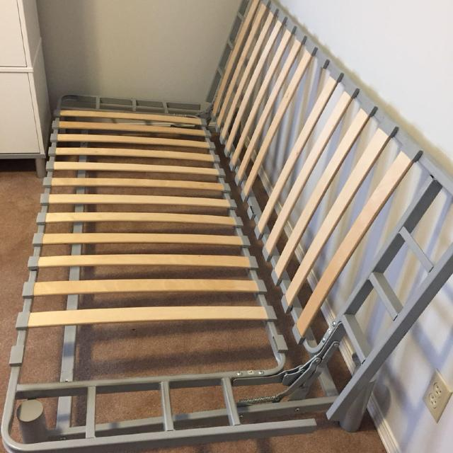 find more ikea beddinge lovas frame missing 2 slats foam not included queen sized when it. Black Bedroom Furniture Sets. Home Design Ideas