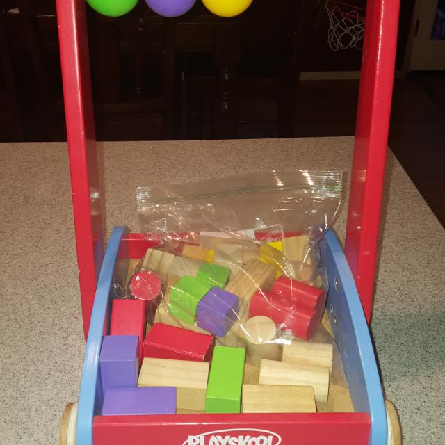 Playskool Wooden Walker With 31 Blocks 10 Firm Poms Ftpu Retails For 42 Plus Shipping See Comments