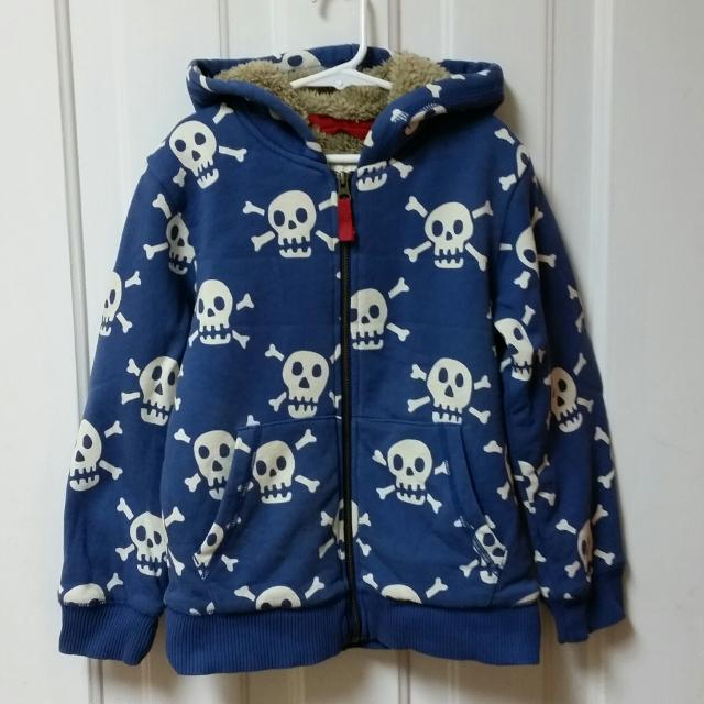 de13a80d Find more Mini Boden Shaggy-lined Skull Hoodie, Size 6-7 Y for sale ...