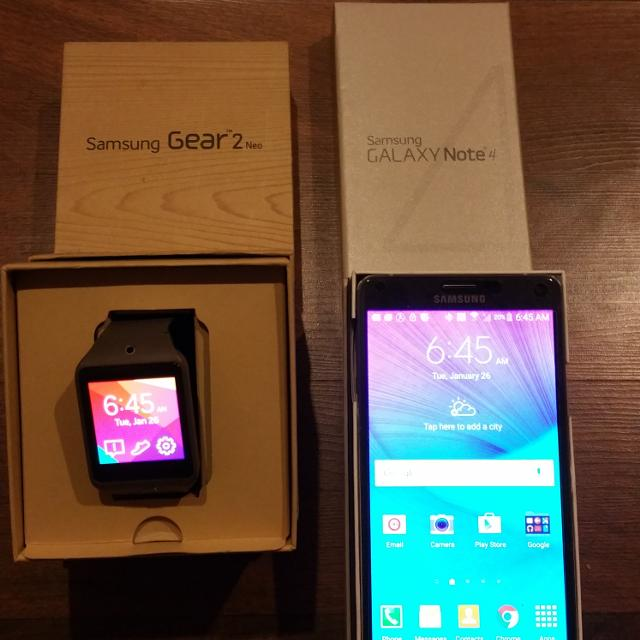 timeless design b179f 75dba New samsung note 4 verizon and samsung gear 2 neo smart watch trade for  iphone 6 plus