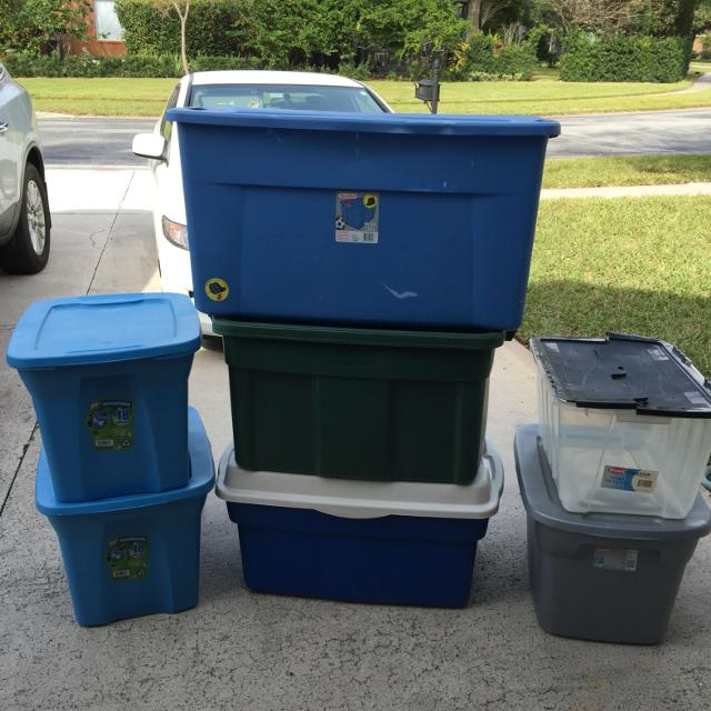 Totes Storage Bins 3 18 Gallon Each 1 12 2