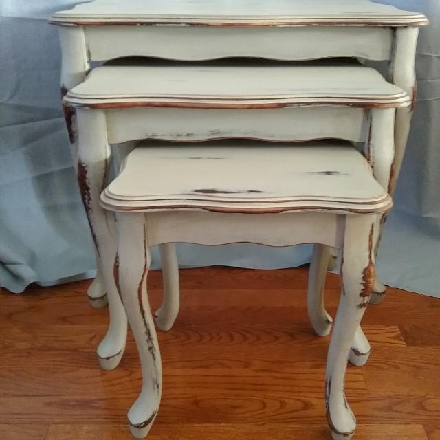 Solid cherry wood 3 nesting tables  They have been painted in grey chalk  paint and. Best Solid Cherry Wood 3 Nesting Tables  They Have Been Painted In