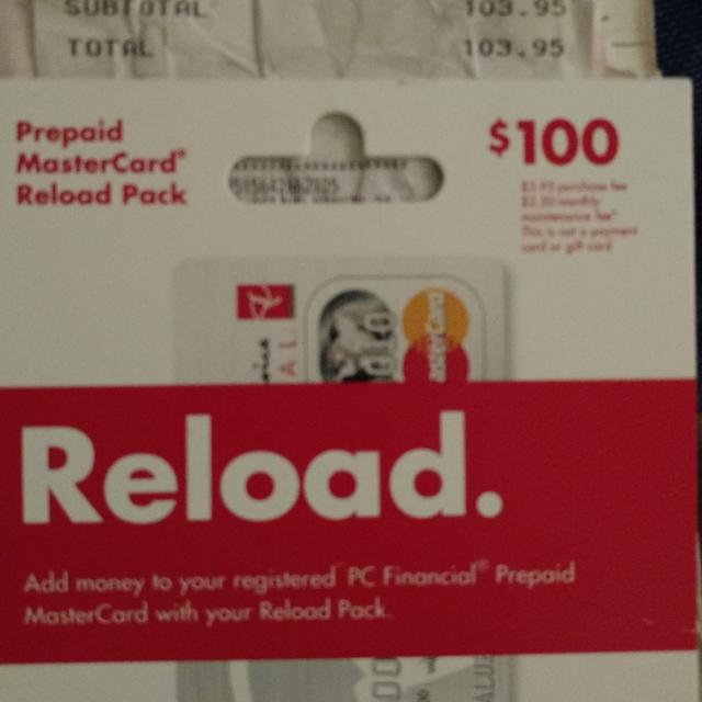 $100 reload for a PC prepaid MasterCard
