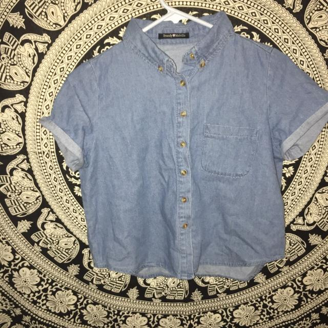 4eb5fb7c23d8b Find more Brandy Melville Denim Button Top for sale at up to 90% off