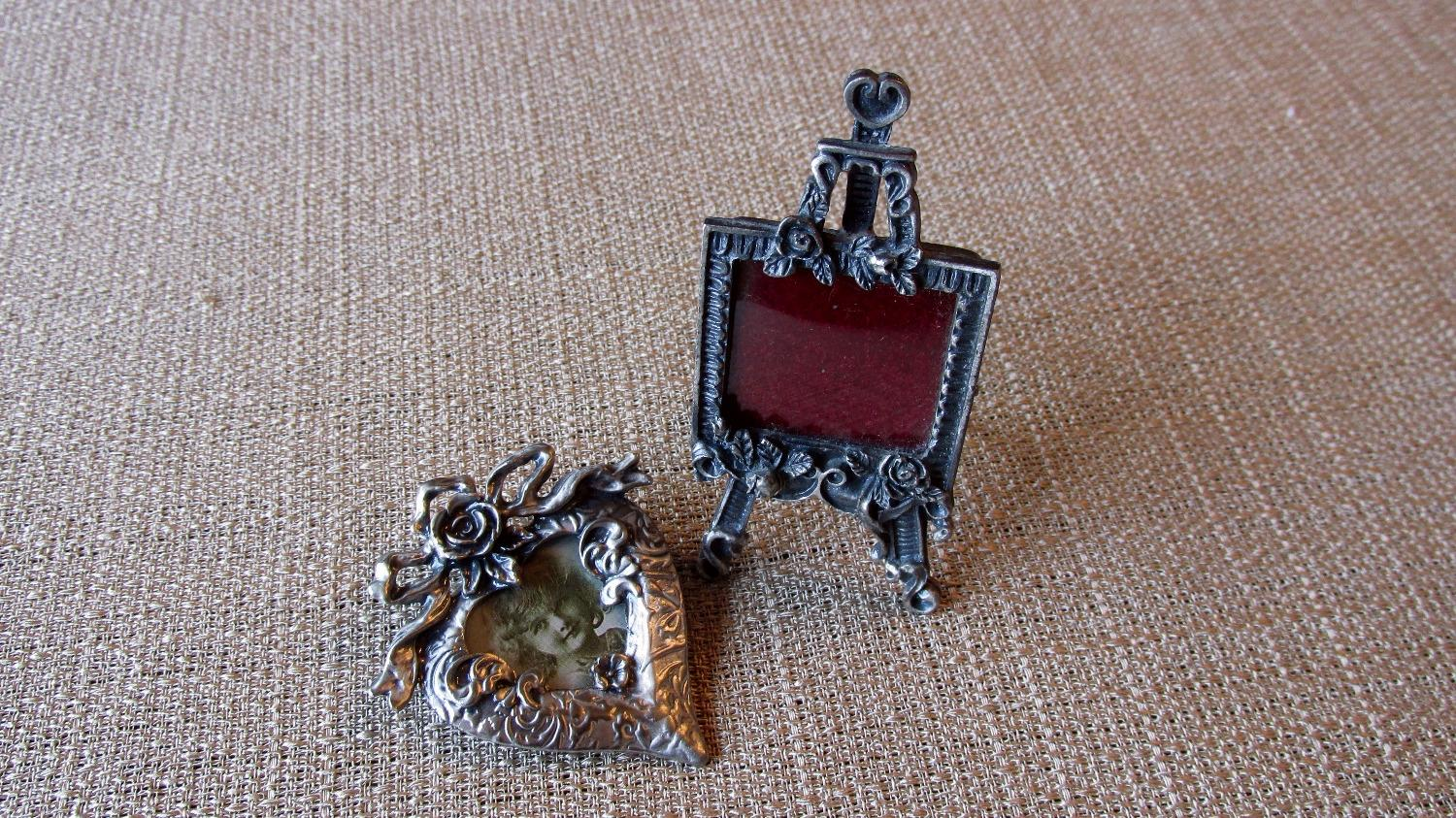 Two Miniature Frames Hearts Flowers Pewter Easel and Brooch