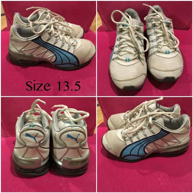 c908563ec681 Best Puma Wite And Blue Running Shoes Sneakers Girls Size 13.5 for sale in  Maple Valley