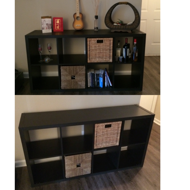 Shelving Unit 8 Units Black Brown Ikea Kallax 2 Rattan Baskets