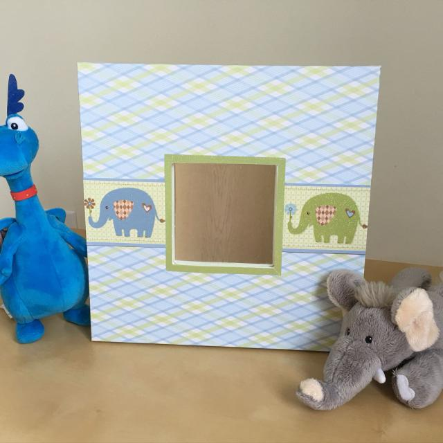 Nursery Baby Boy Blue Elephant Mirror