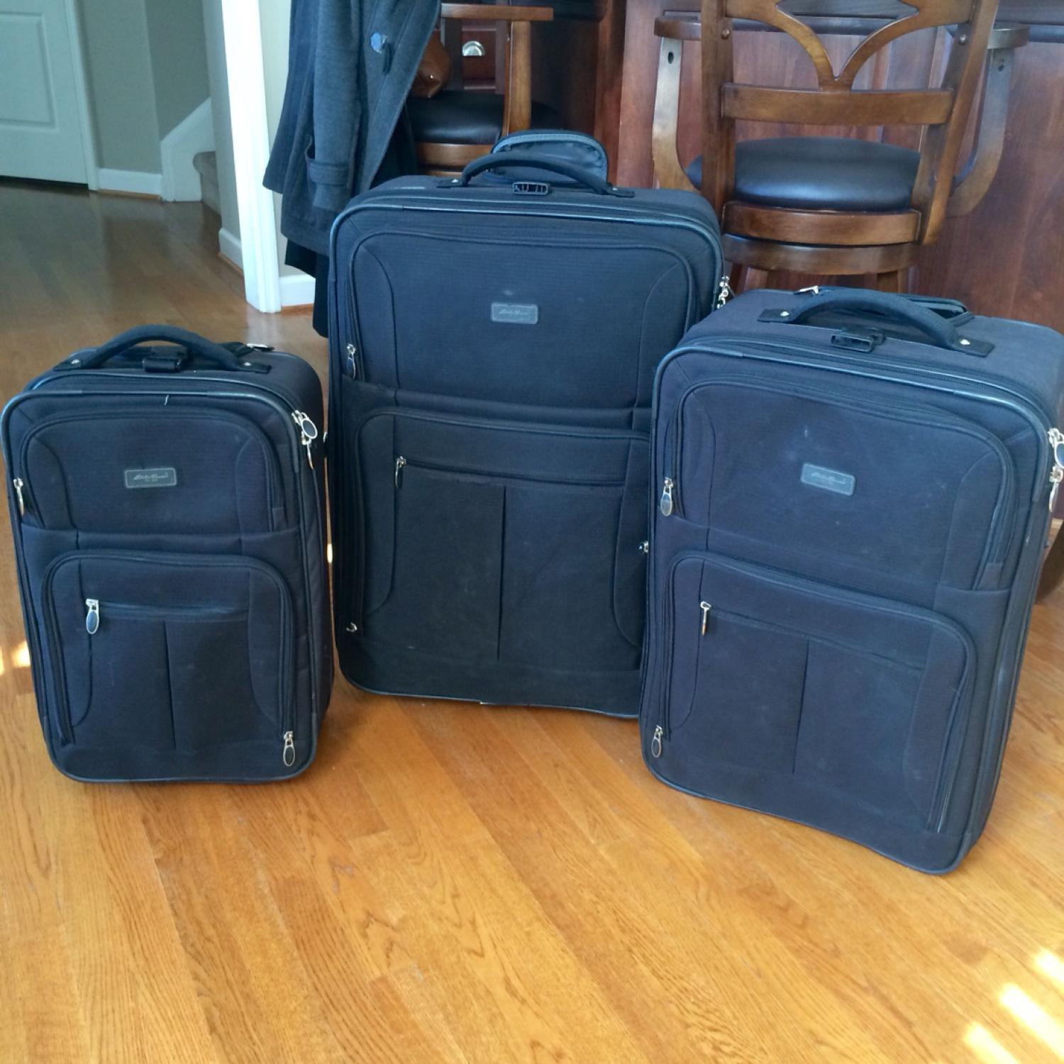 3b7067416b Find more Eddie Bauer 3 Piece Black Luggage Set With Wheels for sale ...
