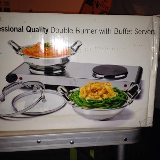 Wolfgang Puck Cast Iron Professional Quality Double Burner With Buffet Servers
