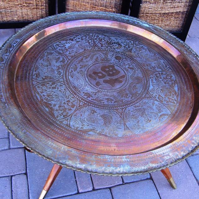 Best Mid Century Round Brass Tray Coffee Table On Wood Spider Leg