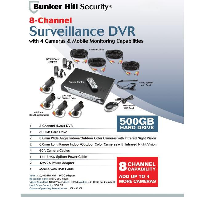 Bunker Hill Security-8 Channel Surveillance DVR, 4 Cameras and Mobile  Monitoring Capabilities