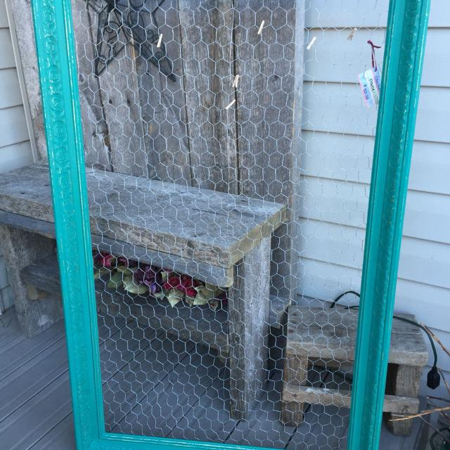 Large frame with chicken wire  45 length x 29 width