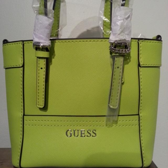 5cb43d1c2f1b Find more Bnwt Lime Green Guess Delaney Mini Tote for sale at up to ...