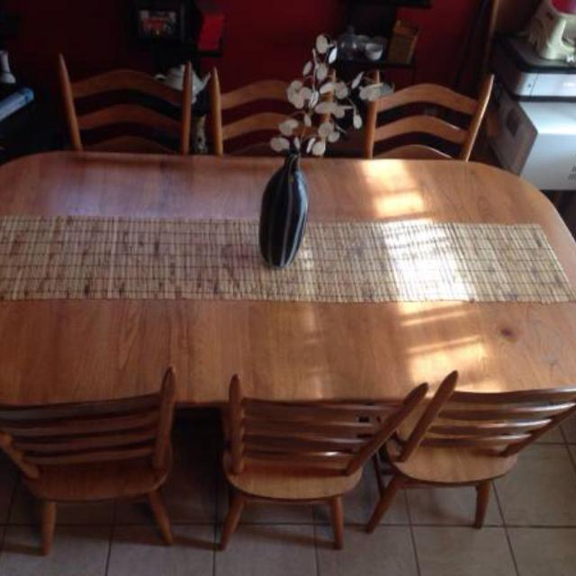 Walter Of Wabash Solid Oak Dining Table 2 Leafs 6 Chairs