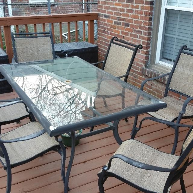 Coleman Gl Top Patio Table With Six Chairs
