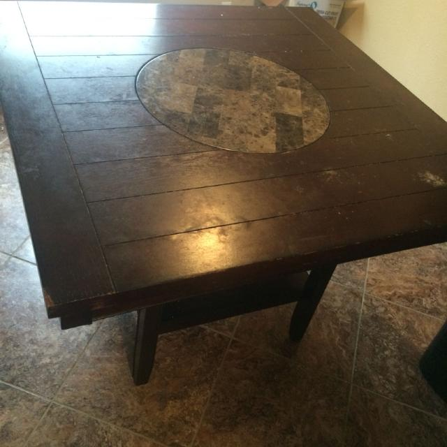 Bar Height Kitchen Table With Lazy Susan Middle Granite Spins Only No Chairs Included Pick Up Angleton