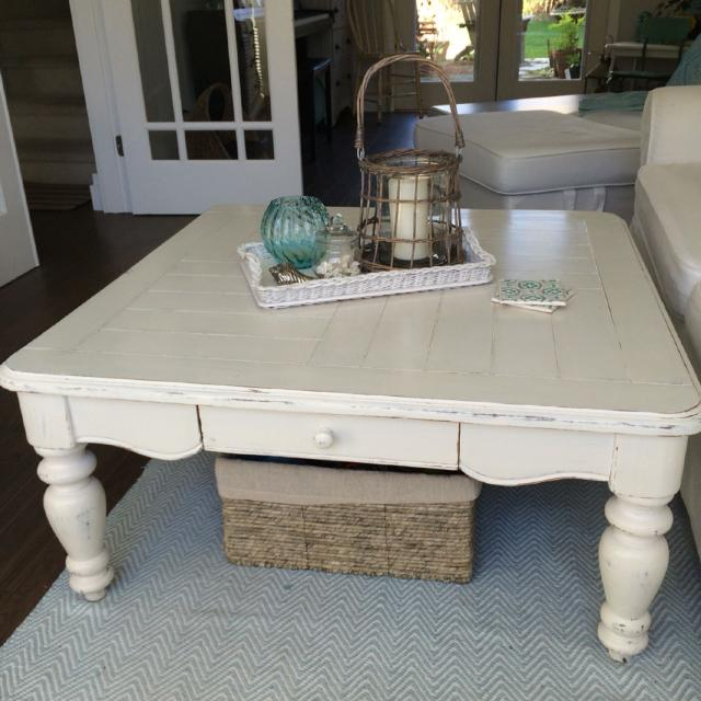 Find More Farmhouse Cottage Style Creamy White Distressed Coffee Table With Small Drawer For Sale At Up To 90 Off