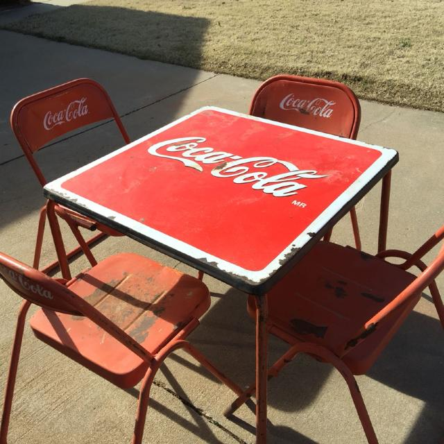 find more final price drop antique coca cola table with 4 chairs for