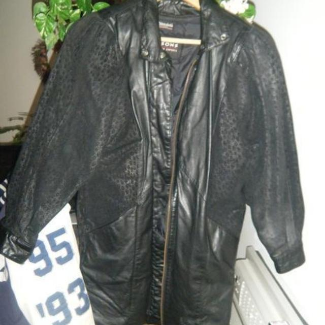 kid arriving matching in colour mid length leather jacket