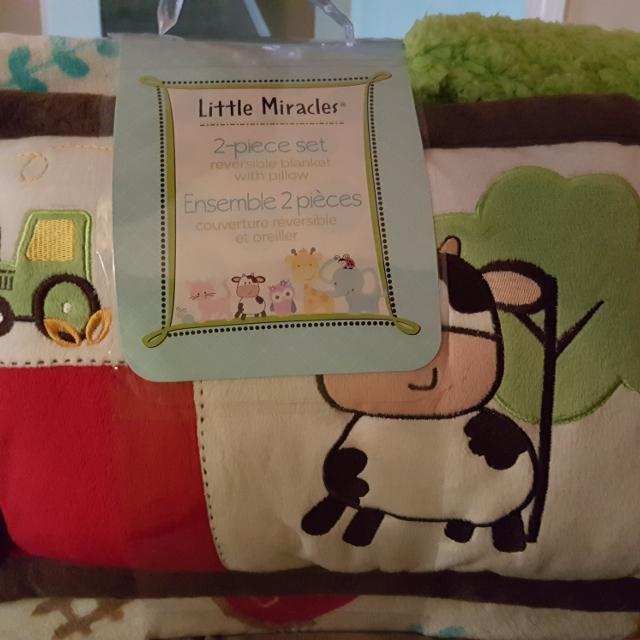 find more little miracles 2 piece blanket pillow set for sale at up