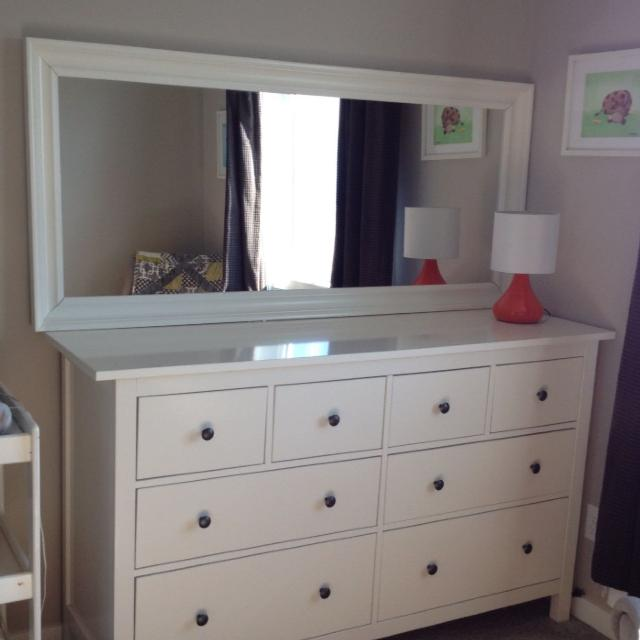 White Hemnes 8 Drawer Dresser And Matching Mirror