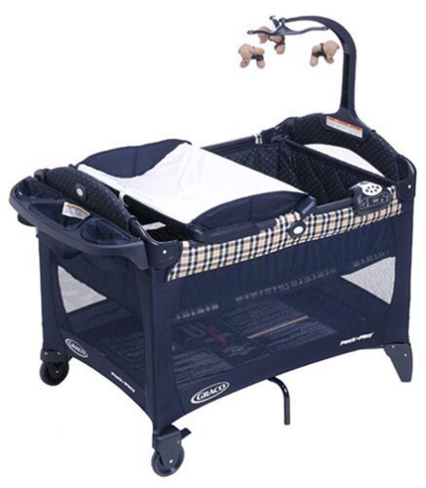 Baby cribs york region - Find More Full Size Bassinet Pack N Play Graco Gingham Navy Blue Crib Bear Mobile Travel For Sale At Up To 90 Off Richmond Hill On