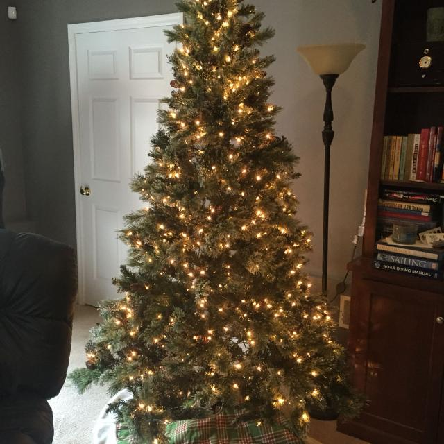 Martha Stewart 7 5ft Pre Lit Sparkling Christmas Tree Used Twice With Box Accents Of Sparkling Snow And Pine Cones Beautiful Reduced
