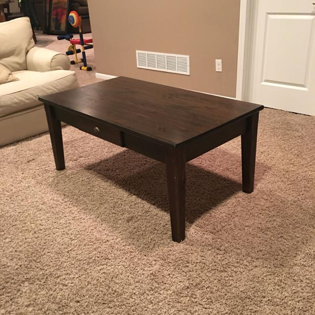 Ikea Markor Coffee Table Solid Wood Has Drawer To Remotes