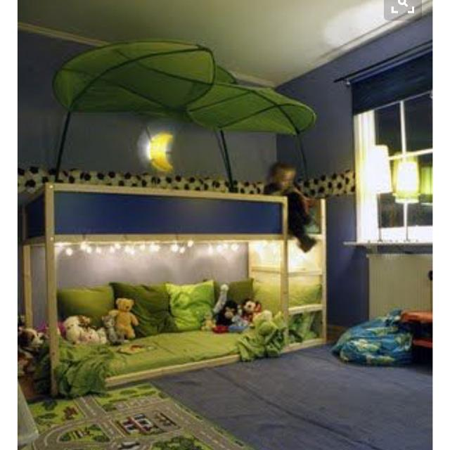 new style 0d6f7 cd3ef Loft bunk bed with play space underneath. One twin mattress and one black,  metal bunkbed frame.