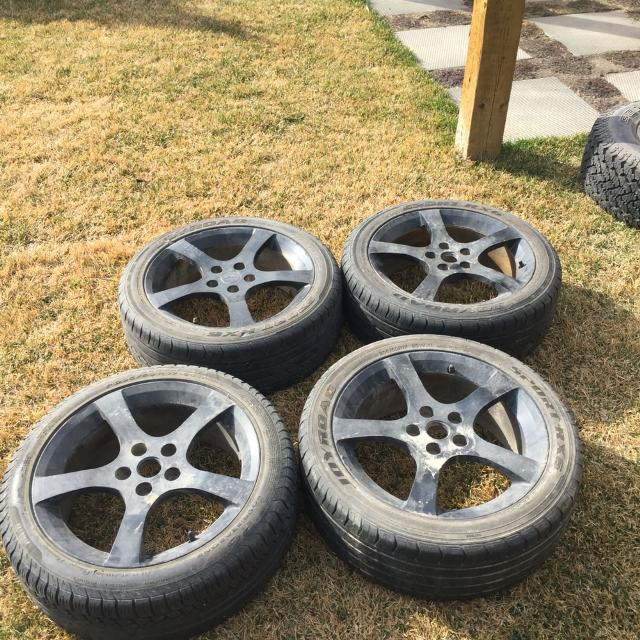 4 rims and tires  Bolt pattern 5x110  17 inch rims with 205/50/r17 size  tires  Stock Pontiac G5 GT rims