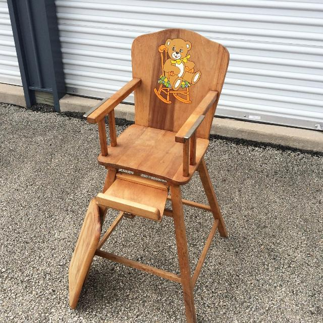 Antique 1940s 50s Vintage Wooden Child's Maple Baby High Chair Walker Wood  Tray Art Deco Great - Best Antique 1940s 50s Vintage Wooden Child's Maple Baby High Chair