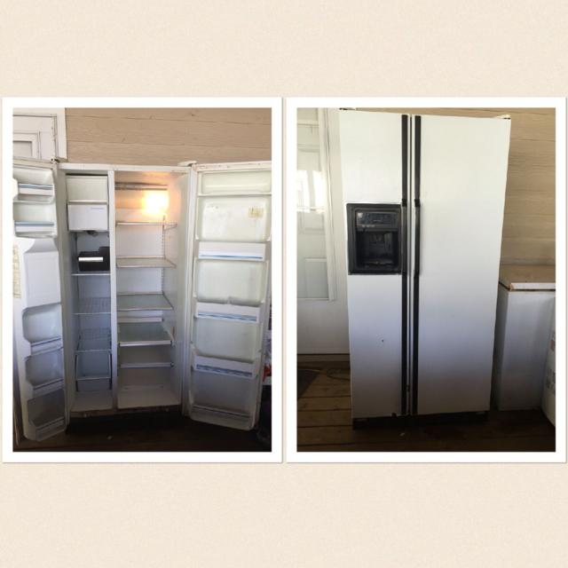 Good Garage Refrigerator  Kenmore Large older side by side with water and  ice on outside of door  Works good  $150 00 OBO